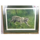 Signed and numbered white tiger lithograph