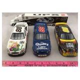 4 Die-cast NASCAR Cars including Semi-Truck