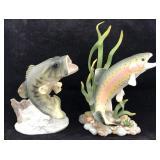 2 Porcelain Fish Sculptures - Bass & Rainbow Trout