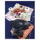 Vintage Lot of Sewing Threads, Fabrics, Etc