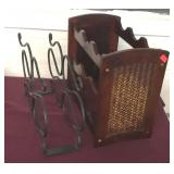 One Wooden and One Metal Wrought Iron Wine Rack