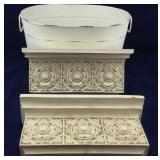 Pair of Fancy Short White Wall Shelves and White
