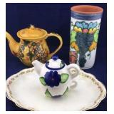 Teapots, Glazed Wine Cooler and Old Homer Laughlin