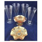 4 Pilsner (?) Glasses and a Pair of Carnival