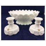 Matching Westmoreland Glass Milk Glass Bowl and