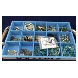 Wooden Box of Various Types of Costume Jewelry