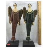Pair of Wooden Angel Figures