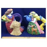 Pair of Hand Painted Clay Art Pitchers/Teapots