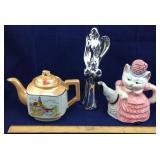 Japanese Teapot, Cat Teapot, Metallic Angel
