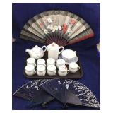 Chinese Hand Fans, Teapot, Small Jars