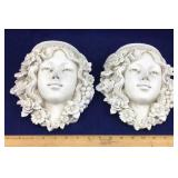 Pair of Hanging Plaster Faces