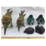 Metal Bird Figures & Frog Candle Holders