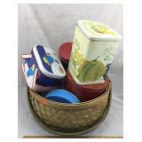 Basket with Various Tins