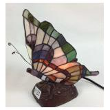 Tiffany style stained glass monarch butterfly lamp