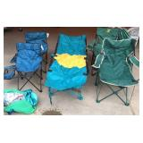 5 Collapsible Lawn Chairs and a Tent