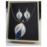 Mixit Blue Enamelled Necklace and Earring Set