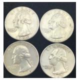 4 Silver Washington Quarters