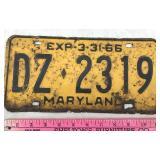 Vintage 1966 Maryland License Plate