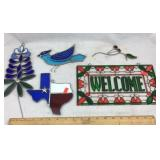 Stained Glass Ornaments & Plastic Welcome Sign