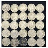 25 Buffalo Nickels with Various Dates