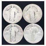 4 Silver Standing Liberty Quarters - No Dates