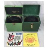 Collection of 45RPM Vinyl Records in Two Cases