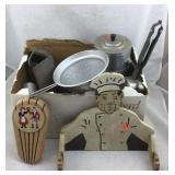 Vintage Aluminum Kitchen Items, Wooden Chef