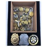 3 Police Badges and Assortment of Military Buttons