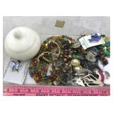 Assortment of Costume Jewelry and Marble Jewelry