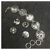 Heavy Silver Tone Disc Bracelet With