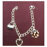 Sterling Silver Charm Bracelet and 3 Charms