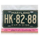 1958 Maryland License Plate from a 1952 Chrysler