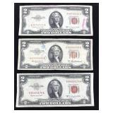 Three Series 1953 Two Dollar Bills