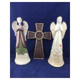 Pair of Tall Clay and Glazed Angels Plus Large