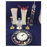 Leaded Glass Clock, Galileo Thermometer, Brass