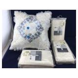 Pair of Identical Cream Embroidered Pillows and