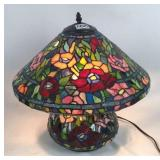 Tiffany style stained glass table lamp with damage