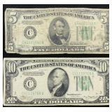Series of 1934 A Ten and Five Dollar Bills