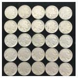 25 Buffalo Nickels - All Legible Dates