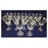 12 Silver Rimmed Wine Glasses