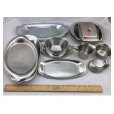 Collection of Stainless Steel Trays, Etc.