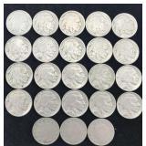 20 Buffalo Nickels and 3 V Nickels