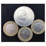 1965 Churchill Crown Coin and Three 2 Pound Coins