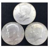 3 Silver Clad Kennedy Half Dollars