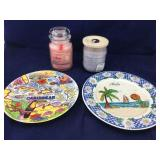 Pair of Large Jarred Candles and 2 Tourist Plates