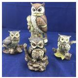 4 Different Vintage Owl Statues