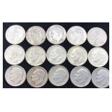 15 Silver Roosevelt Dimes