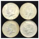 4 Silver Clad Kennedy Half Dollars