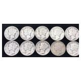 10 Mercury Dimes - Various Dates