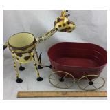 Tin Wagon Planter & Giraffe Planter